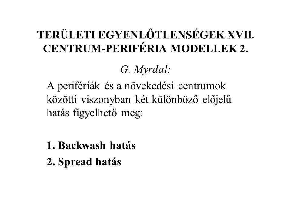 TERÜLETI EGYENLŐTLENSÉGEK XVII. CENTRUM-PERIFÉRIA MODELLEK 2.