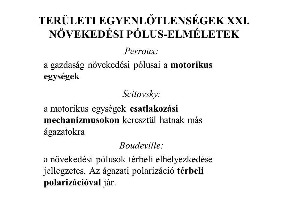 TERÜLETI EGYENLŐTLENSÉGEK XXI. NÖVEKEDÉSI PÓLUS-ELMÉLETEK