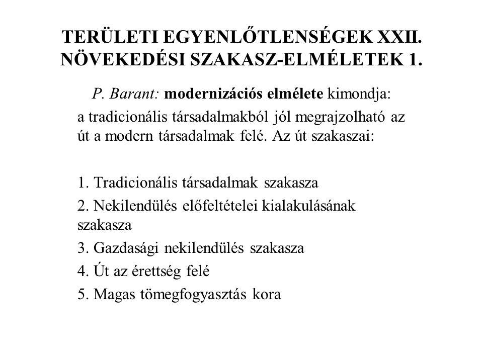 TERÜLETI EGYENLŐTLENSÉGEK XXII. NÖVEKEDÉSI SZAKASZ-ELMÉLETEK 1.