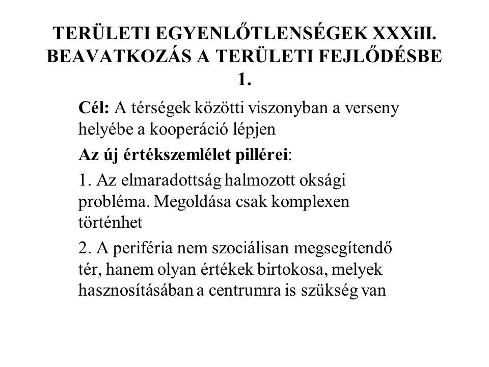 TERÜLETI EGYENLŐTLENSÉGEK XXXiII. BEAVATKOZÁS A TERÜLETI FEJLŐDÉSBE 1.