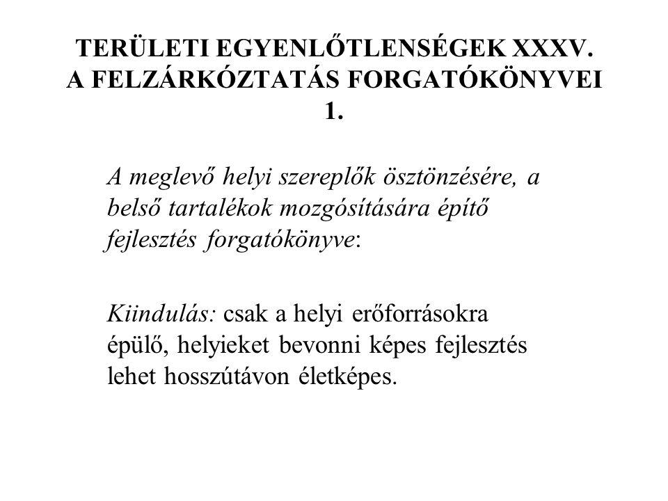 TERÜLETI EGYENLŐTLENSÉGEK XXXV. A FELZÁRKÓZTATÁS FORGATÓKÖNYVEI 1.