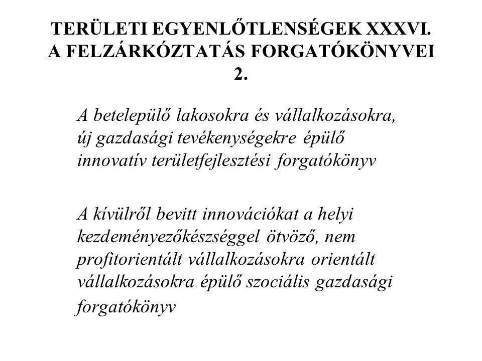 TERÜLETI EGYENLŐTLENSÉGEK XXXVI. A FELZÁRKÓZTATÁS FORGATÓKÖNYVEI 2.