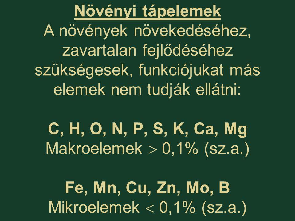 Növényi tápelemek A növények növekedéséhez, zavartalan fejlődéséhez szükségesek, funkciójukat más elemek nem tudják ellátni: C, H, O, N, P, S, K, Ca, Mg Makroelemek  0,1% (sz.a.) Fe, Mn, Cu, Zn, Mo, B Mikroelemek  0,1% (sz.a.)