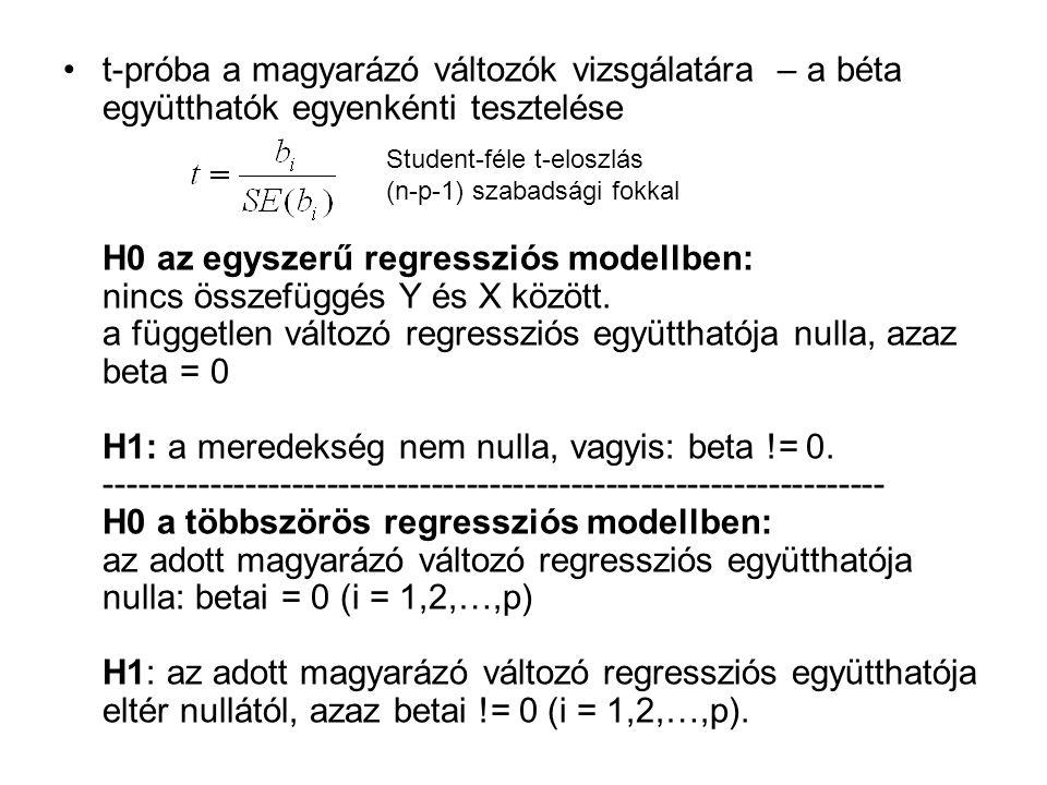 t-próba a magyarázó változók vizsgálatára – a béta együtthatók egyenkénti tesztelése H0 az egyszerű regressziós modellben: nincs összefüggés Y és X között. a független változó regressziós együtthatója nulla, azaz beta = 0 H1: a meredekség nem nulla, vagyis: beta != 0. ------------------------------------------------------------------- H0 a többszörös regressziós modellben: az adott magyarázó változó regressziós együtthatója nulla: betai = 0 (i = 1,2,…,p) H1: az adott magyarázó változó regressziós együtthatója eltér nullától, azaz betai != 0 (i = 1,2,…,p).