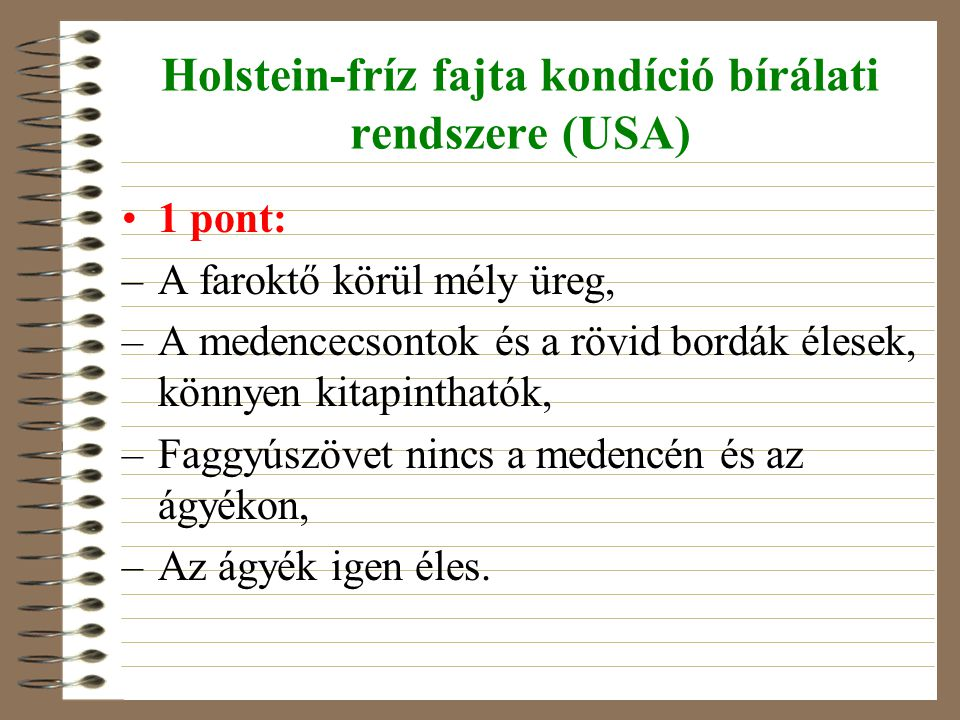 Holstein-fríz fajta kondíció bírálati rendszere (USA)