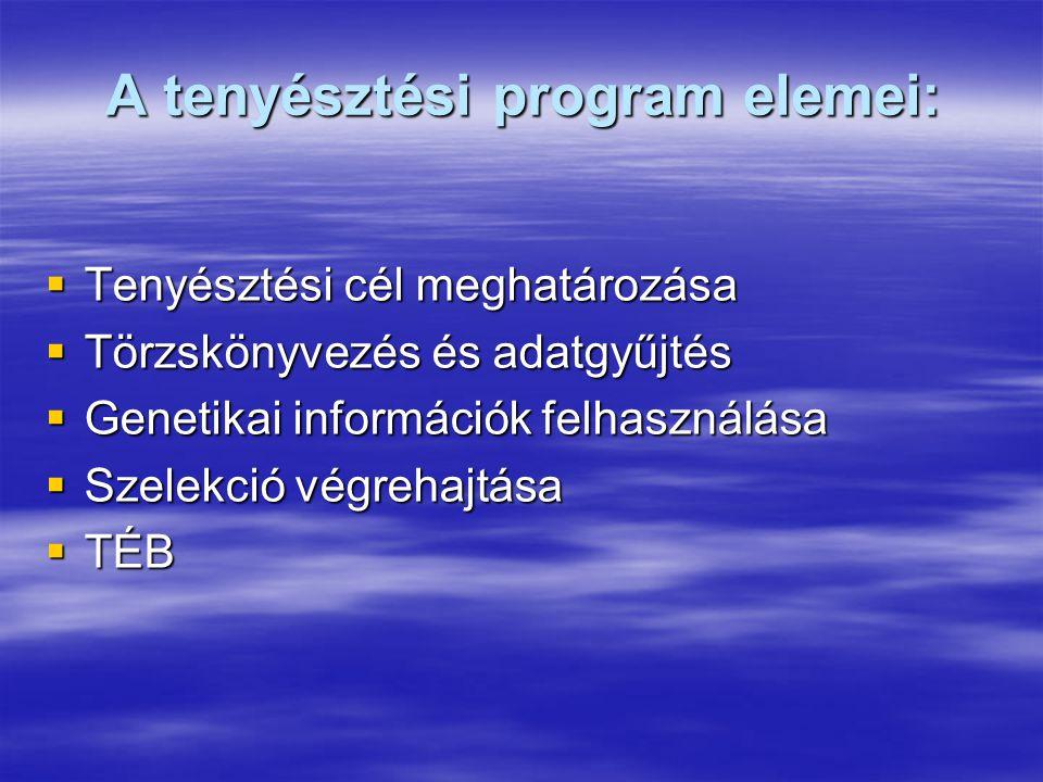 A tenyésztési program elemei: