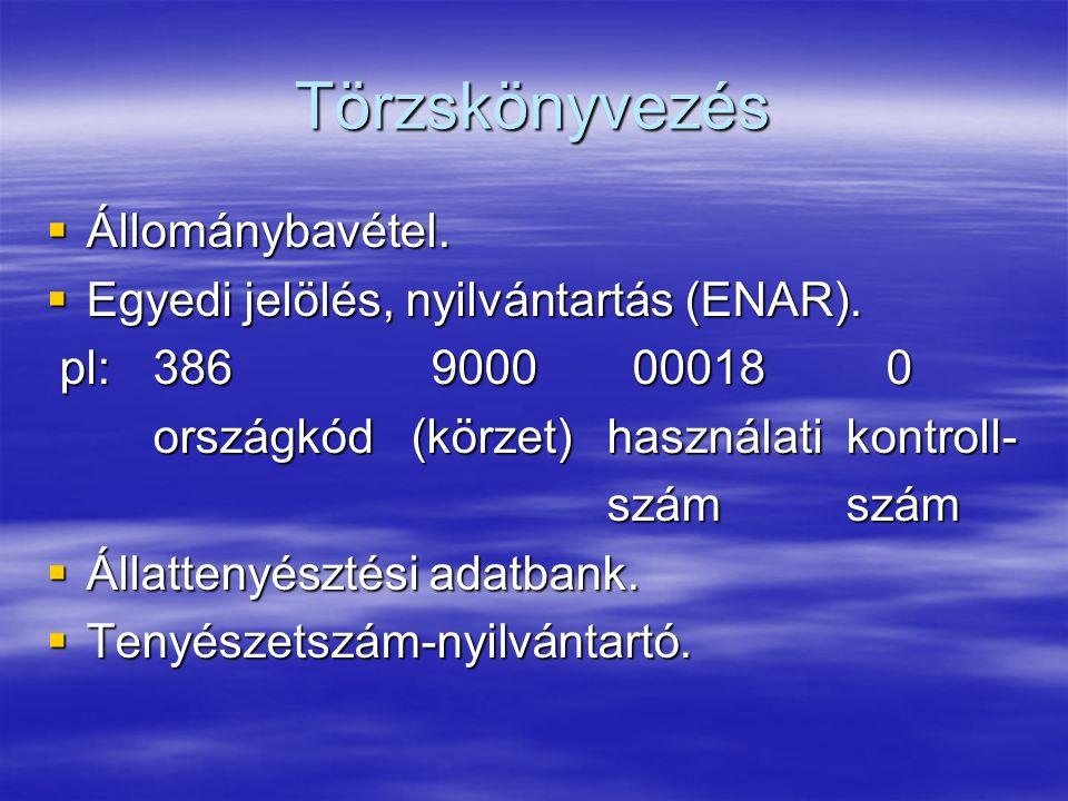 Törzskönyvezés Állománybavétel. Egyedi jelölés, nyilvántartás (ENAR).