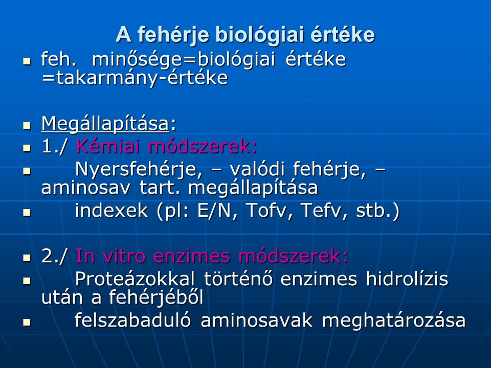 A fehérje biológiai értéke