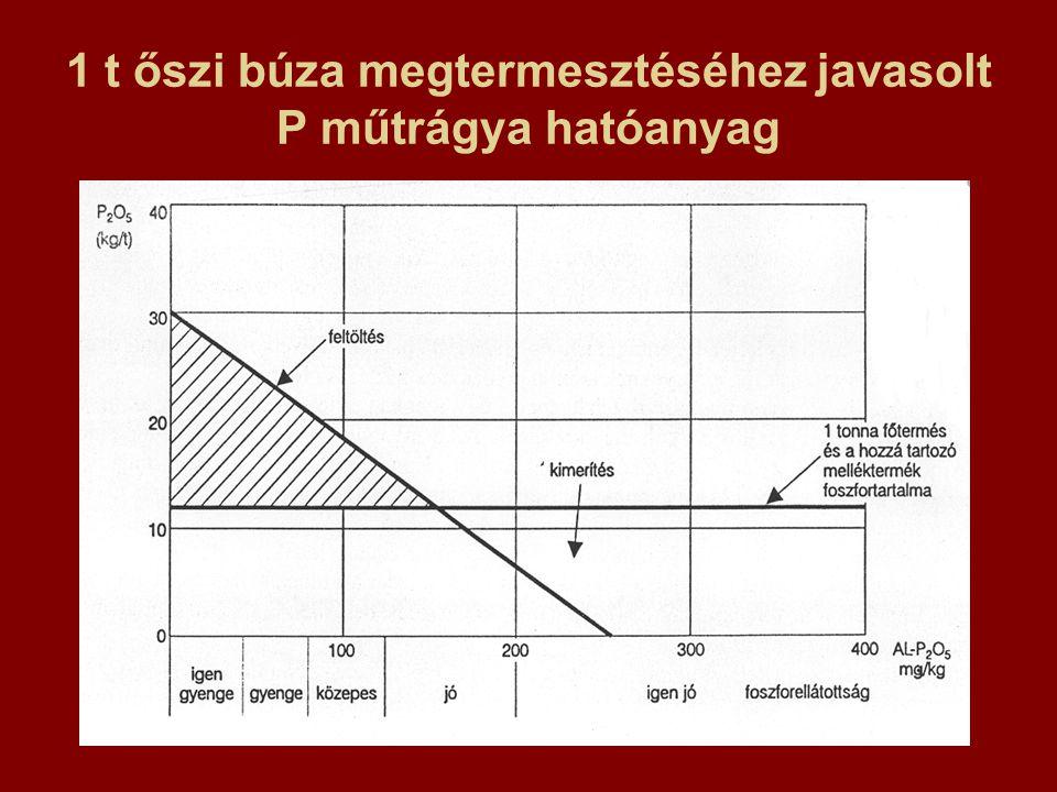 1 t őszi búza megtermesztéséhez javasolt P műtrágya hatóanyag