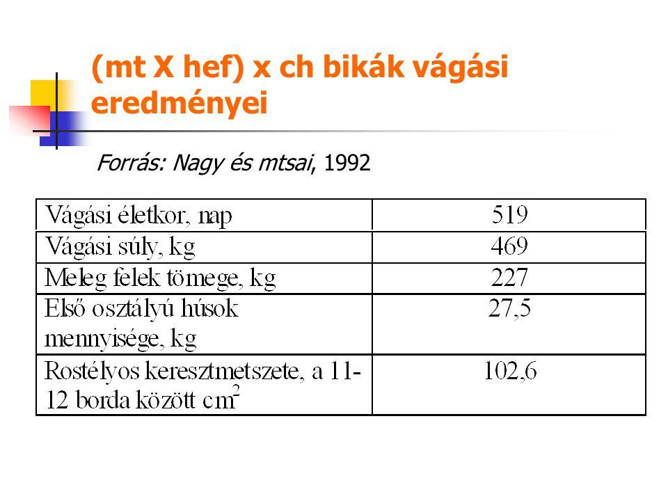 (mt X hef) x ch bikák vágási eredményei