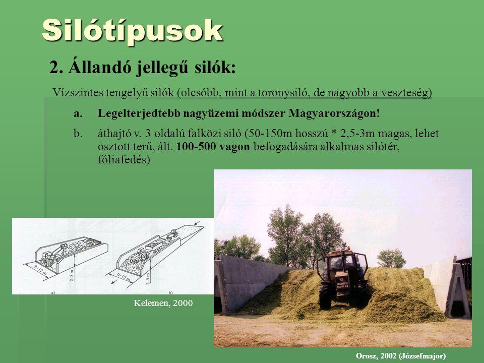 Silótípusok 2. Állandó jellegű silók: