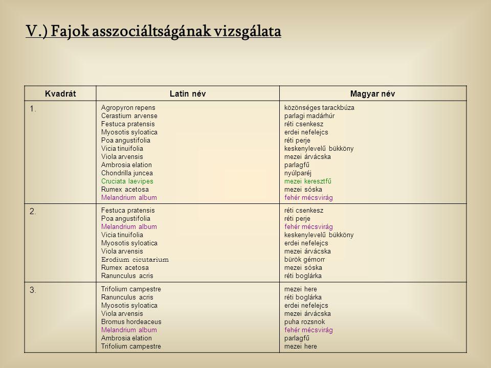 V.) Fajok asszociáltságának vizsgálata
