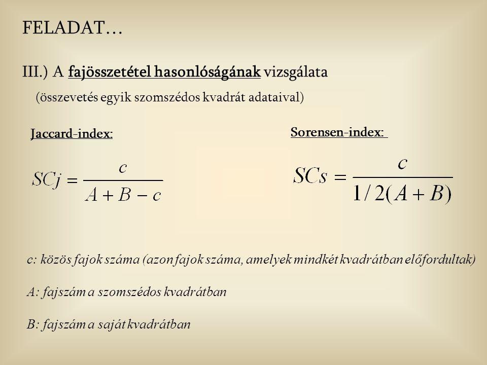 FELADAT… III.) A fajösszetétel hasonlóságának vizsgálata