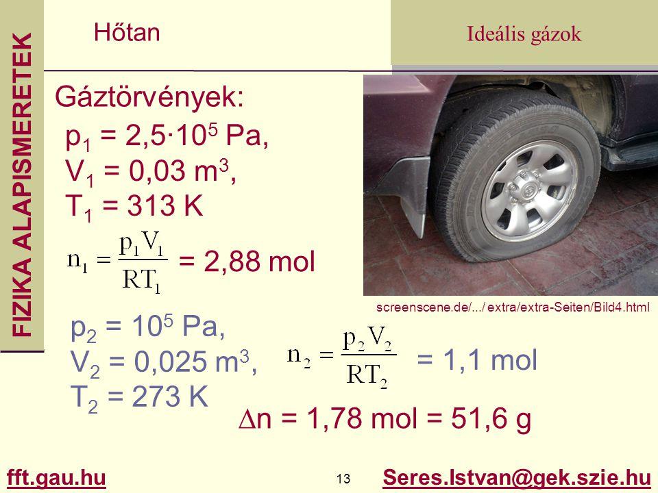 Gáztörvények: p1 = 2,5·105 Pa, V1 = 0,03 m3, T1 = 313 K = 2,88 mol