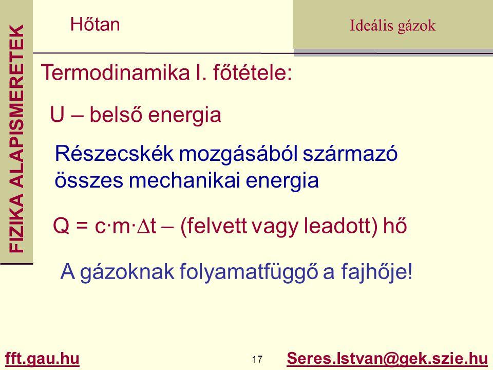 Termodinamika I. főtétele: