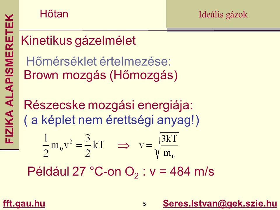 Kinetikus gázelmélet Hőmérséklet értelmezése: Brown mozgás (Hőmozgás) Részecske mozgási energiája: