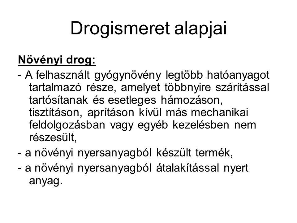 Drogismeret alapjai Növényi drog: