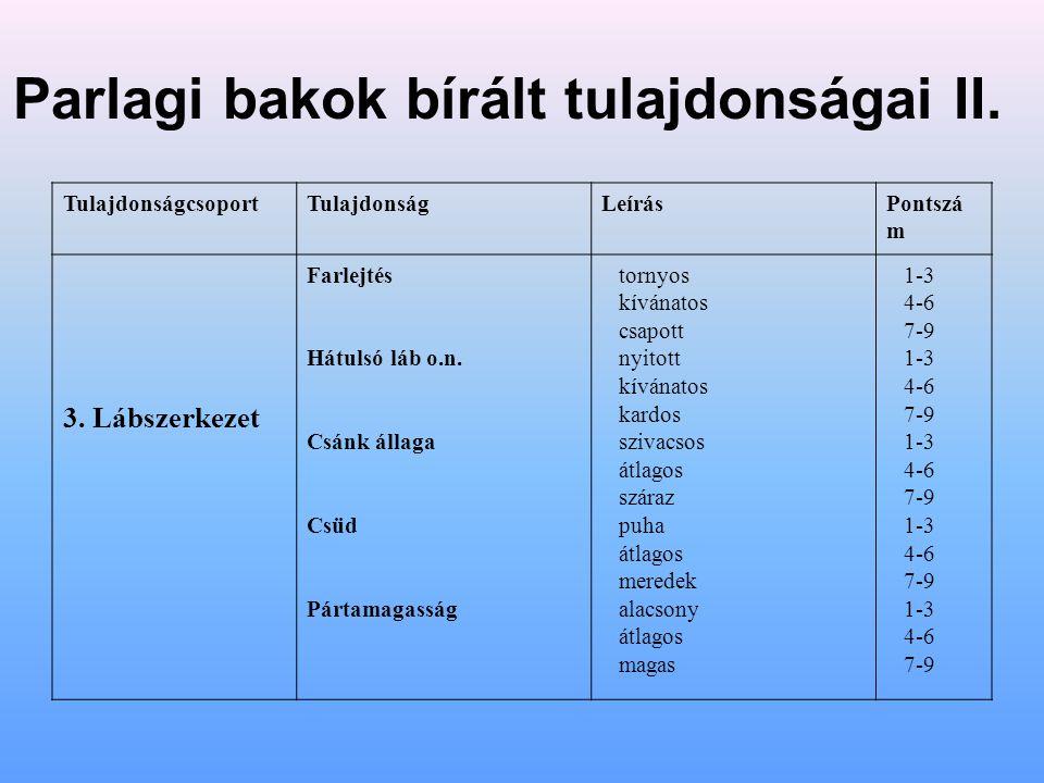 Parlagi bakok bírált tulajdonságai II.