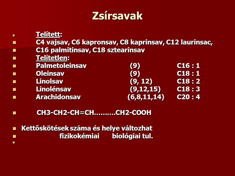 Zsírsavak C4 vajsav, C6 kapronsav, C8 kaprinsav, C12 laurinsac,