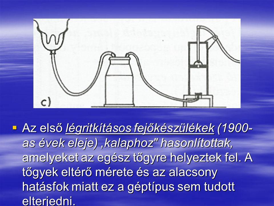 Az első légritkításos fejőkészülékek (1900-as évek eleje) ,kalaphoz hasonlítottak, amelyeket az egész tőgyre helyeztek fel.