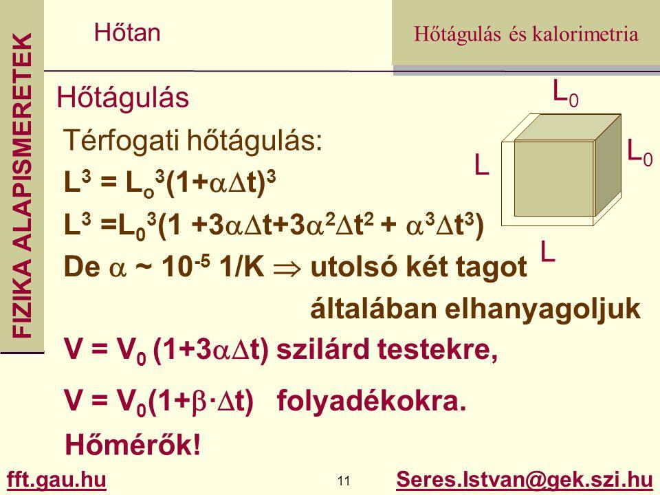 L0 L. Hőtágulás. Térfogati hőtágulás: L3 = Lo3(1+aDt)3. L3 =L03(1 +3aDt+3a2Dt2 + a3Dt3)