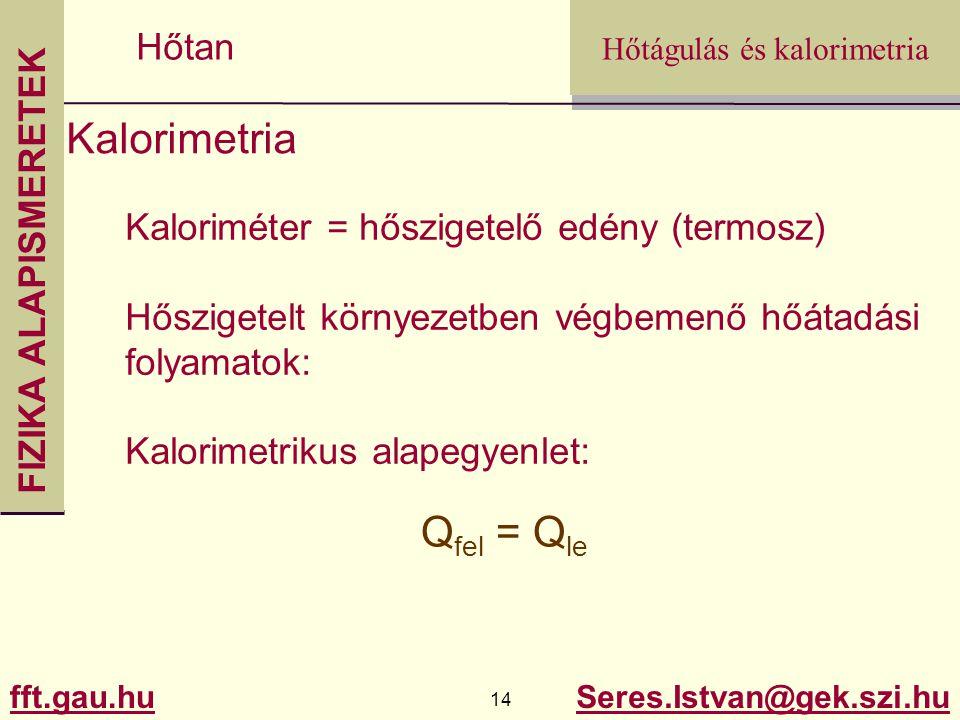 Kalorimetria Qfel = Qle Kaloriméter = hőszigetelő edény (termosz)