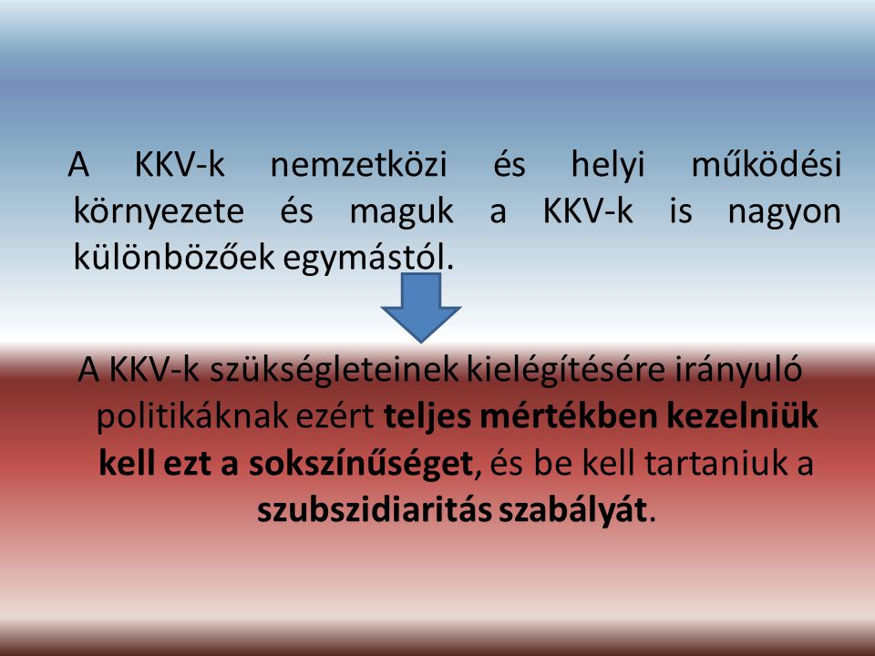 A KKV-k nemzetközi és helyi működési környezete és maguk a KKV-k is nagyon különbözőek egymástól.