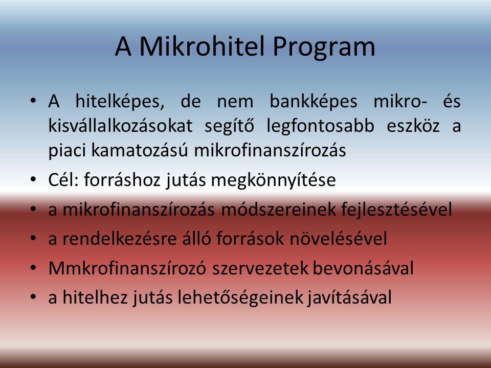 A Mikrohitel Program A hitelképes, de nem bankképes mikro- és kisvállalkozásokat segítő legfontosabb eszköz a piaci kamatozású mikrofinanszírozás.