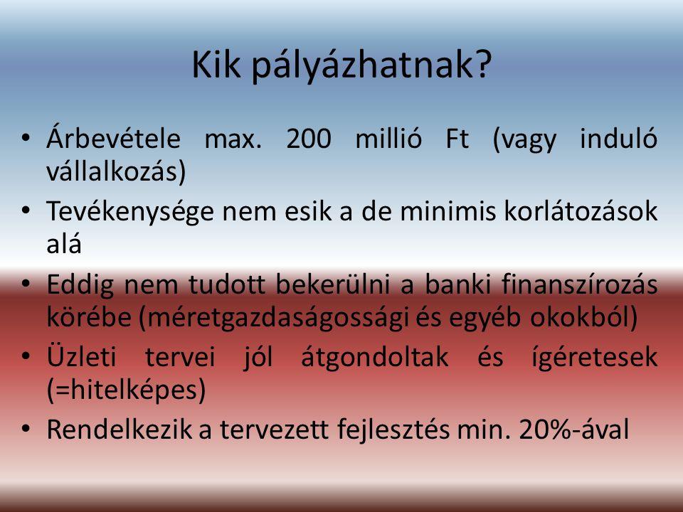 Kik pályázhatnak Árbevétele max. 200 millió Ft (vagy induló vállalkozás) Tevékenysége nem esik a de minimis korlátozások alá.