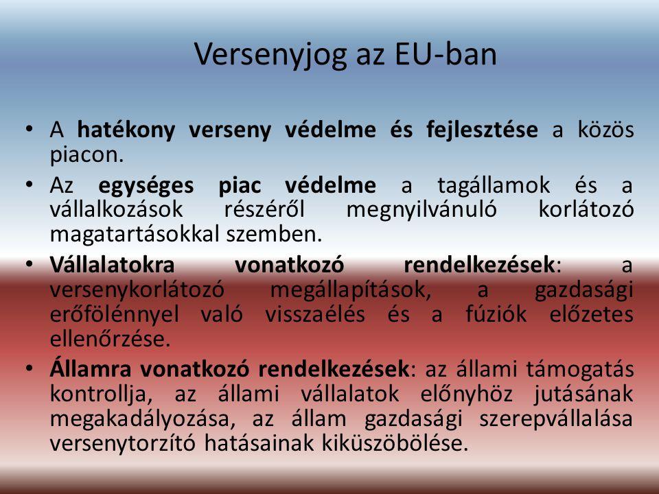 Versenyjog az EU-ban A hatékony verseny védelme és fejlesztése a közös piacon.