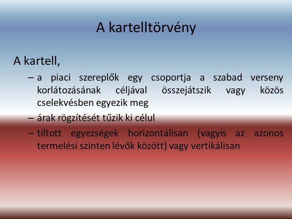 A kartelltörvény A kartell,
