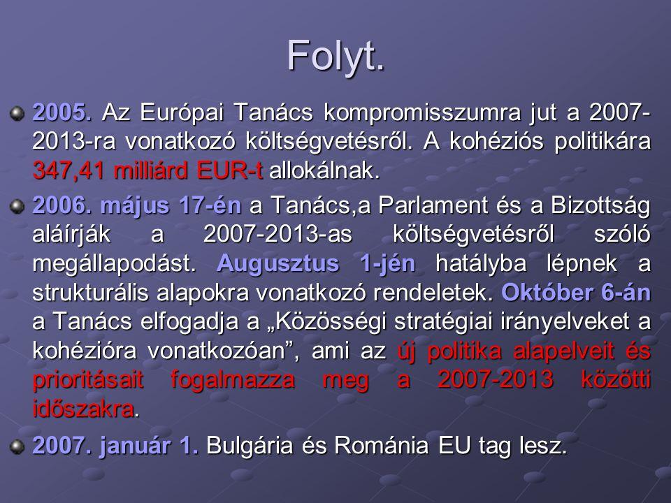 Folyt. 2005. Az Európai Tanács kompromisszumra jut a 2007-2013-ra vonatkozó költségvetésről. A kohéziós politikára 347,41 milliárd EUR-t allokálnak.