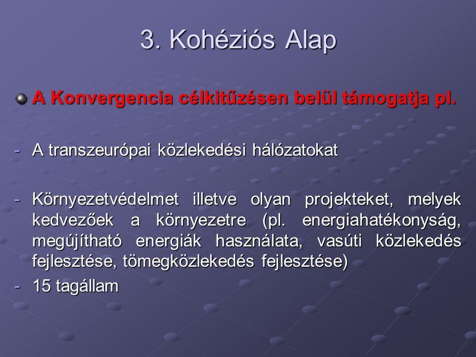 3. Kohéziós Alap A Konvergencia célkitűzésen belül támogatja pl.