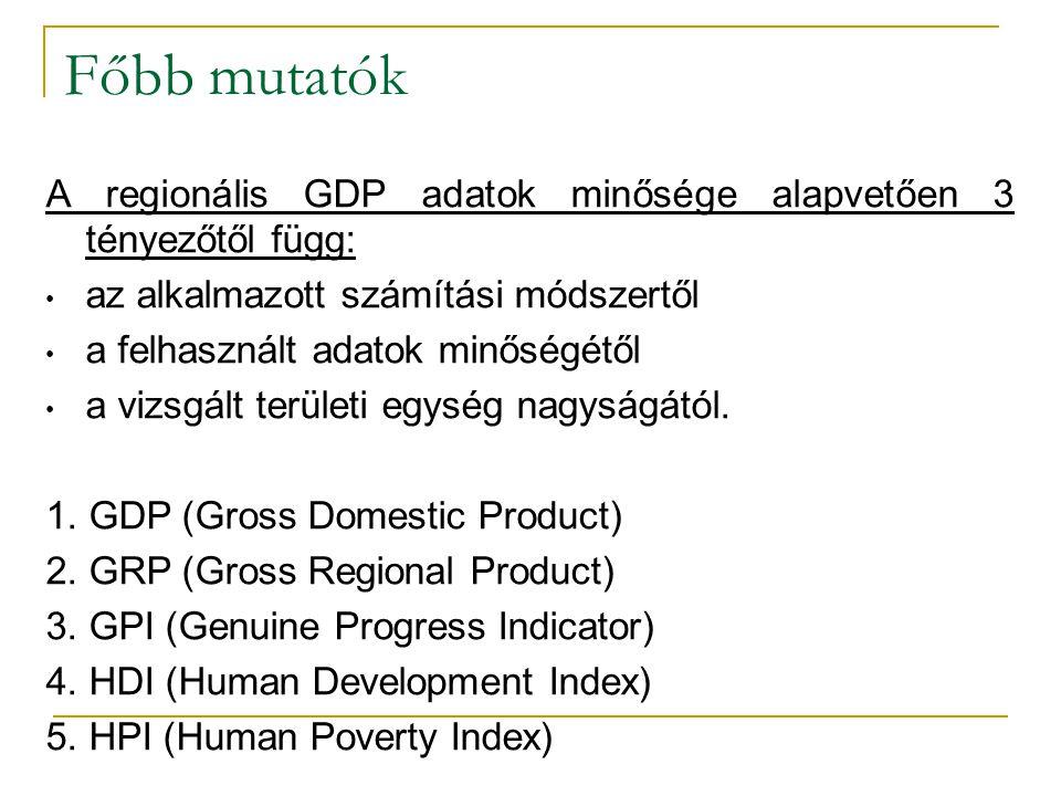Főbb mutatók A regionális GDP adatok minősége alapvetően 3 tényezőtől függ: az alkalmazott számítási módszertől.