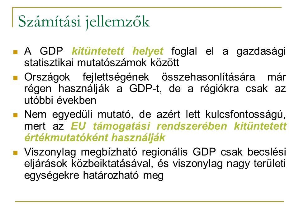 Számítási jellemzők A GDP kitüntetett helyet foglal el a gazdasági statisztikai mutatószámok között.