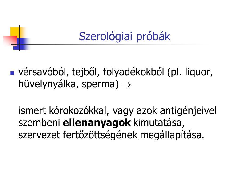 Szerológiai próbák vérsavóból, tejből, folyadékokból (pl. liquor, hüvelynyálka, sperma) 