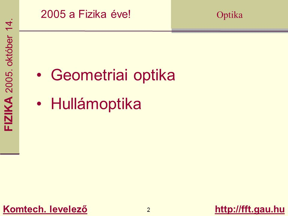 Geometriai optika Hullámoptika