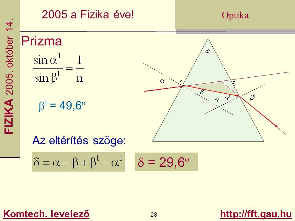 Prizma d a! b j a b! g bl = 49,6º Az eltérítés szöge: d = 29,6º
