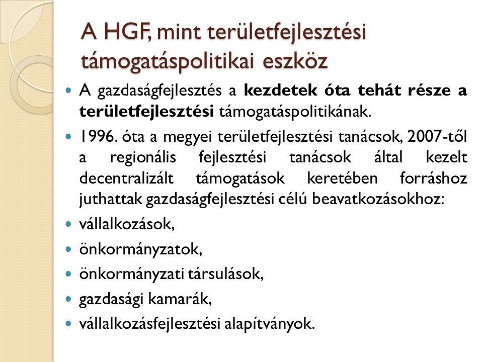 A HGF, mint területfejlesztési támogatáspolitikai eszköz