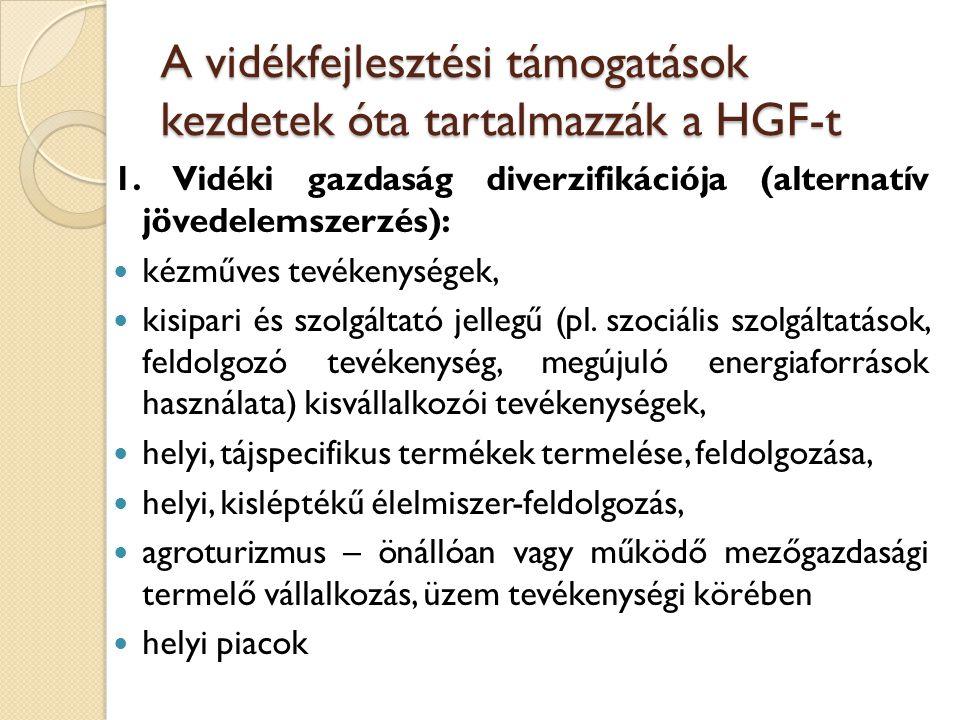 A vidékfejlesztési támogatások kezdetek óta tartalmazzák a HGF-t
