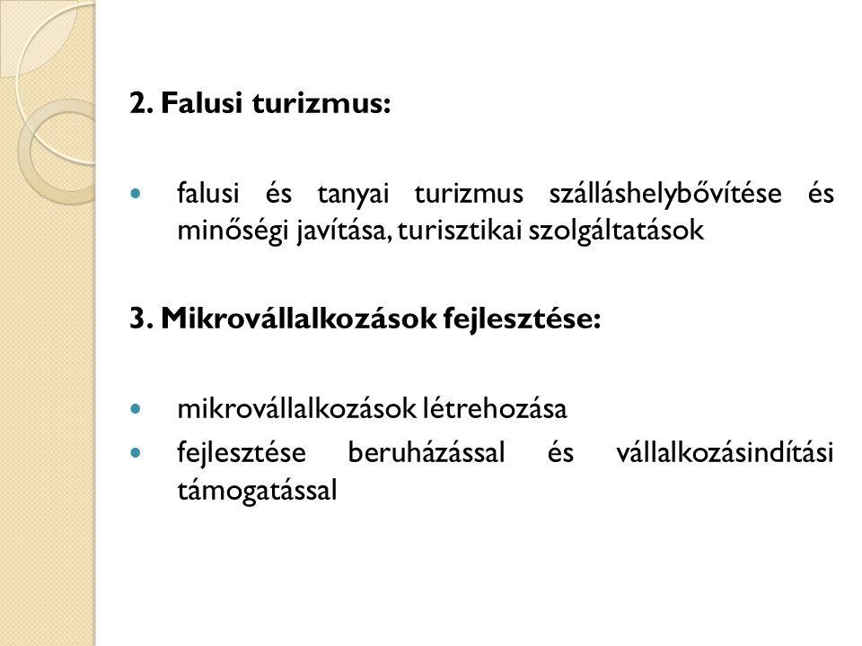 2. Falusi turizmus: falusi és tanyai turizmus szálláshelybővítése és minőségi javítása, turisztikai szolgáltatások.