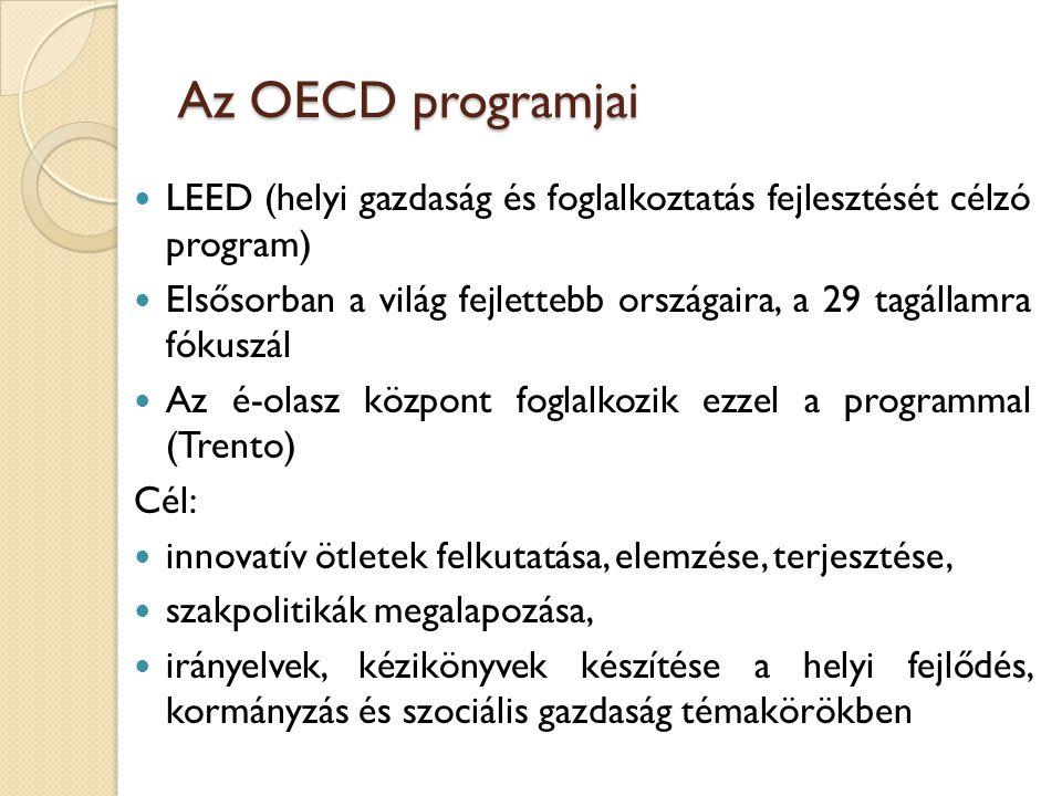 Az OECD programjai LEED (helyi gazdaság és foglalkoztatás fejlesztését célzó program)