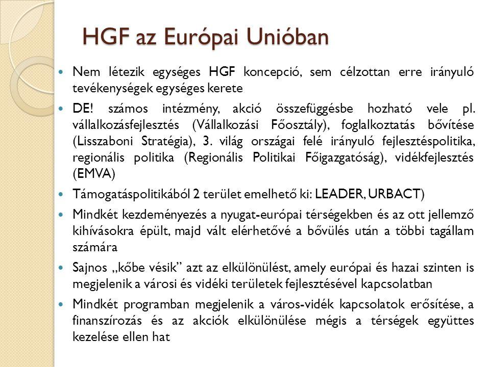 HGF az Európai Unióban Nem létezik egységes HGF koncepció, sem célzottan erre irányuló tevékenységek egységes kerete.
