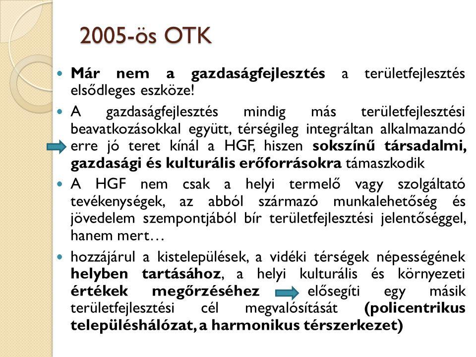 2005-ös OTK Már nem a gazdaságfejlesztés a területfejlesztés elsődleges eszköze!