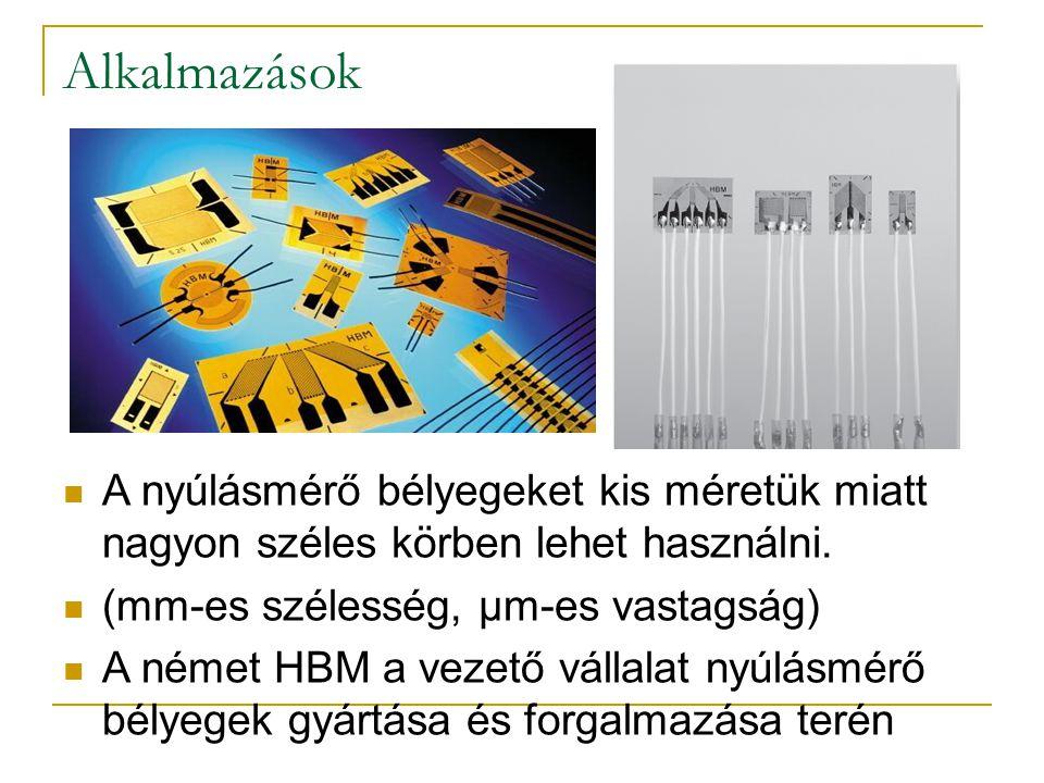 Alkalmazások A nyúlásmérő bélyegeket kis méretük miatt nagyon széles körben lehet használni. (mm-es szélesség, µm-es vastagság)