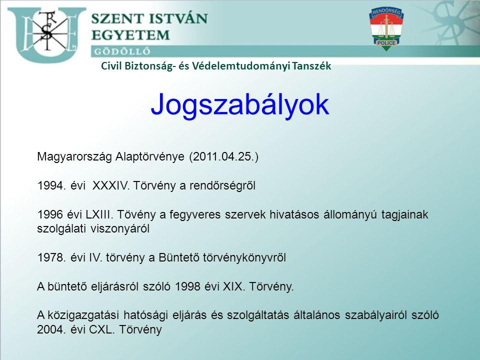 Jogszabályok Civil Biztonság- és Védelemtudományi Tanszék