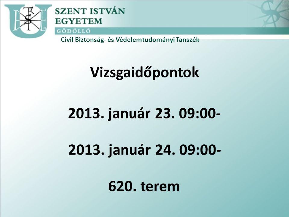Vizsgaidőpontok 2013. január 23. 09:00- 2013. január 24. 09:00-