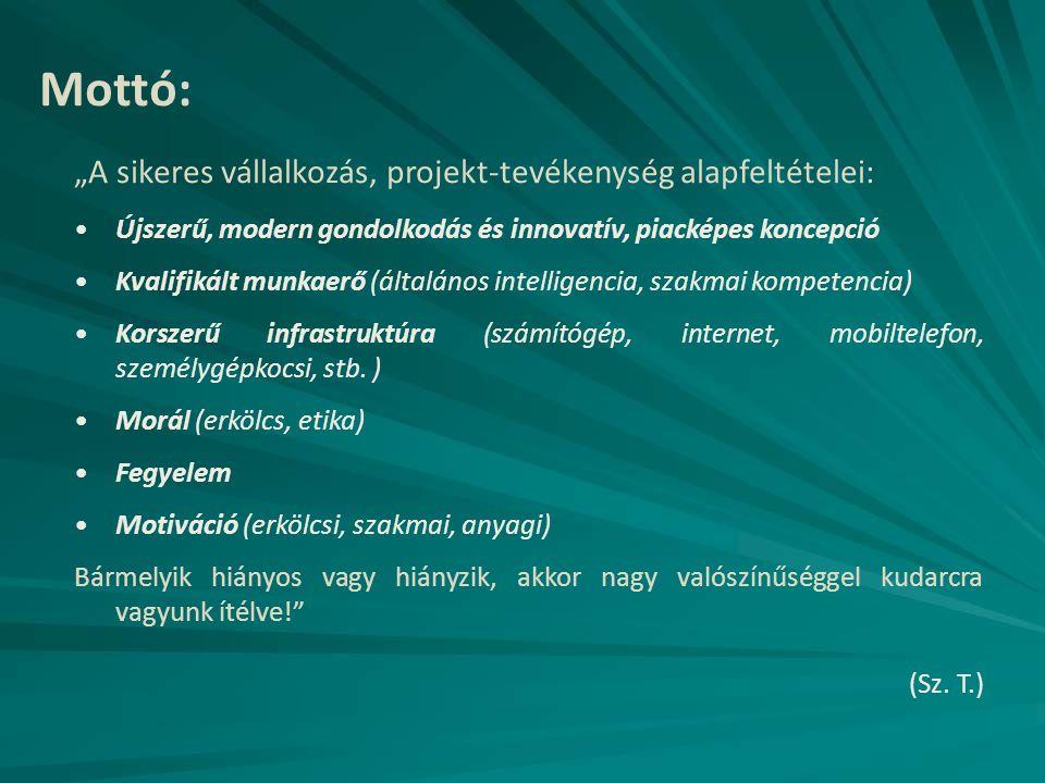 """Mottó: """"A sikeres vállalkozás, projekt-tevékenység alapfeltételei:"""