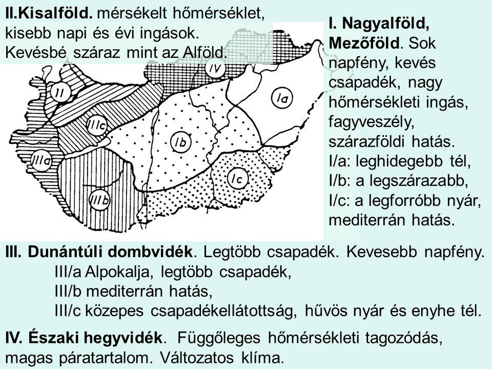 II.Kisalföld. mérsékelt hőmérséklet, kisebb napi és évi ingások.