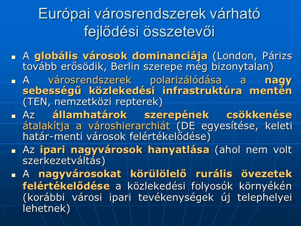 Európai városrendszerek várható fejlődési összetevői